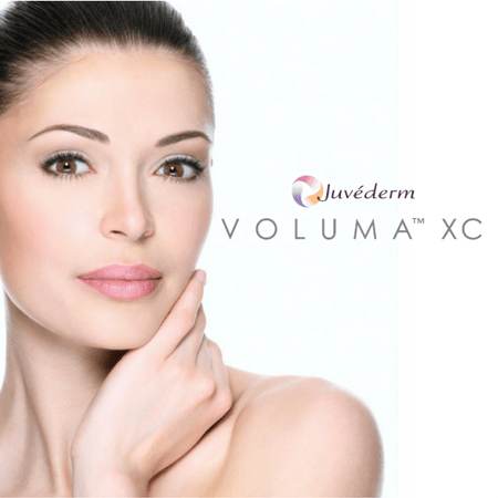 Juvaderm Voluma XC model with hand on jaw